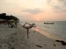 Some serious voga on the beach - Playa Blanca Isla de Baru